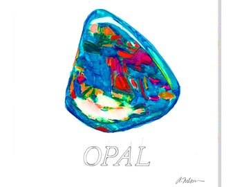 Opal Watercolor Rendering printed on Canvas