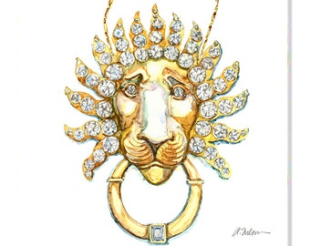 Lion Necklace Watercolor Rendering in Yellow Gold with Diamonds printed on Canvas