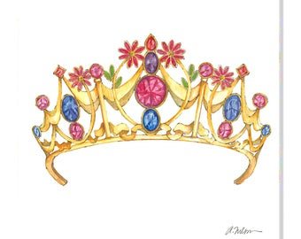 Floral Gemstone Tiara Watercolor Rendering printed on Canvas