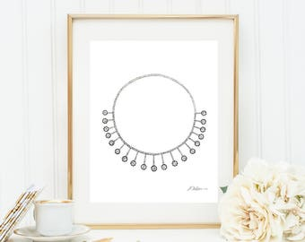 Watercolor Necklace Rendering with Diamonds printed on Paper