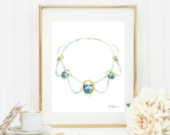 Watercolor Necklace Rendering in Yellow Gold with Sterling Silver and Opals printed on Paper
