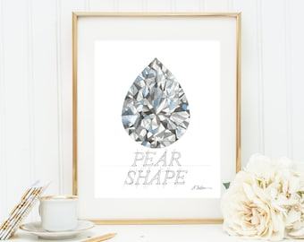 Pear Shape Diamond Watercolor Rendering printed on Paper