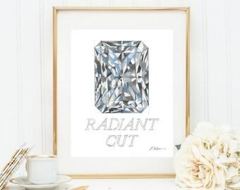 Radiant Cut Diamond Watercolor Rendering printed on Paper