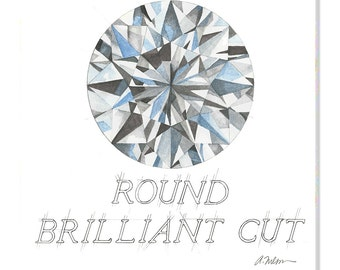 Round Brilliant Cut Diamond Watercolor Rendering printed on Canvas