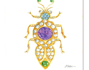 Bug Brooch Watercolor Rendering in Yellow Gold with Diamonds, Sapphires, Amethyst, and Tsavorite Garnets printed on Canvas