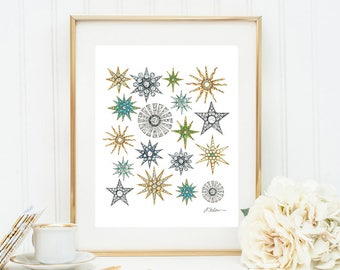 Star Brooches Watercolor Rendering printed on Paper