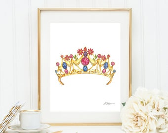 Floral Gemstone Tiara Watercolor Rendering printed on Paper