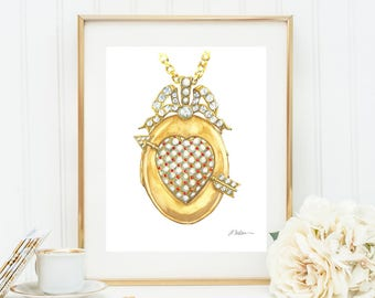 Victorian Locket Watercolor Rendering in Yellow Gold with Coral, Pearls and Diamonds printed on Paper