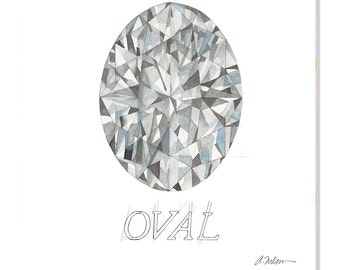 Oval Diamond Watercolor Rendering printed on Canvas