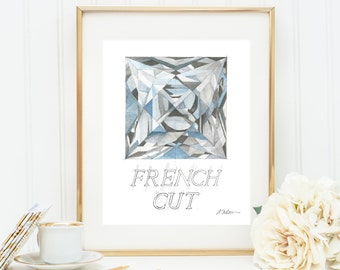French Cut Diamond Watercolor Rendering printed on Paper
