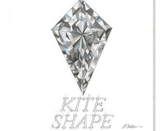 Kite Shape Diamond Watercolor Rendering printed on Canvas