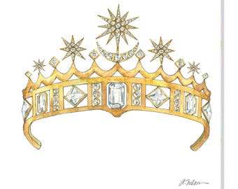Star & Crescent Moon Tiara Watercolor Rendering printed on Canvas