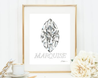 Marquise Diamond Watercolor Rendering printed on Paper