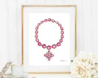 Georgian Necklace Watercolor Rendering in Yellow Gold with Pink Paste Stones printed on Paper