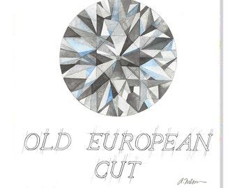 Old European Cut Diamond Watercolor Rendering printed on Canvas