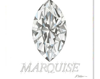 Marquise Diamond Watercolor Rendering printed on Canvas