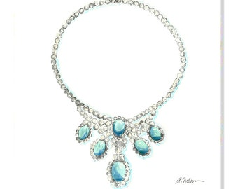Watercolor Necklace Rendering with Diamonds and Turquoise printed on Canvas