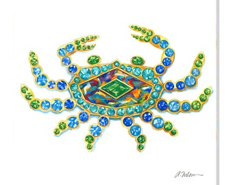 Crab Watercolor Brooch Rendering in Yellow Gold with Opal, Sapphires, Emeralds and Peridots printed on Canvas