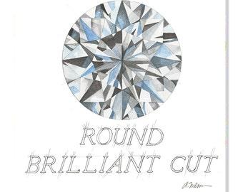 Round Brilliant Cut Diamond Watercolor Rendering printed on Canvas