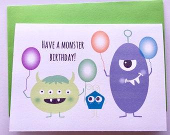 Monster boy birthday greeting card A6 boy birthday card