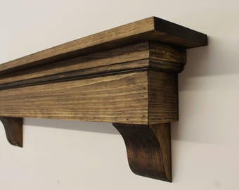 Large Rustic Shelf With Corbels Country Mantel Floating Fireplace Shabby Housewarming Gift