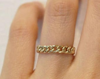 14K solid gold curb link chain ring, hollow curb link chain, 14K gold stacking Ring, 14K minimalist ring, 14k everyday ring, adjustable ring
