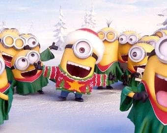 Minion Minion De Reno Tarjeta De Navidad Para Imprimir De Etsy