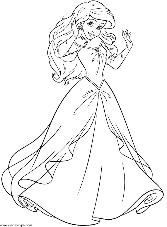 Ariel The Little Mermaid Instant Download Coloring Pages Etsy