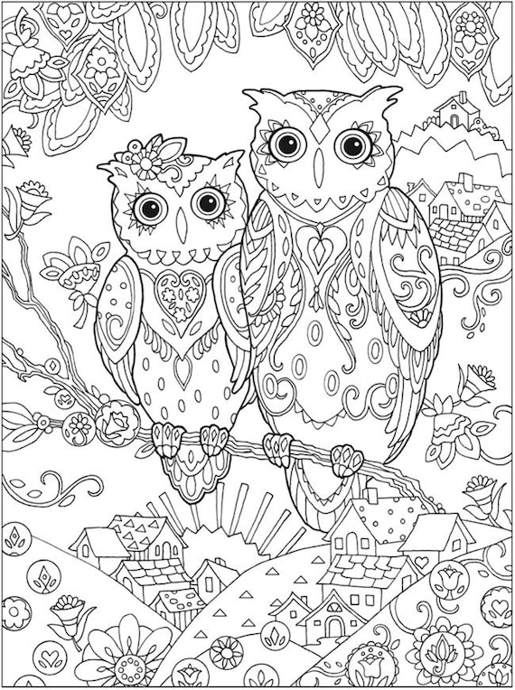 OWLS Instant Download ADULT Coloring Pages Digital | Etsy