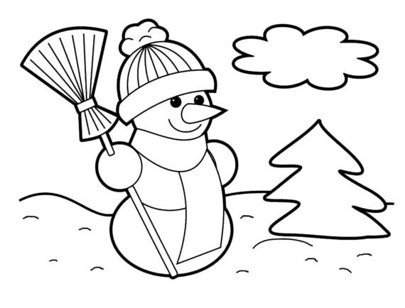 Muñeco de nieve descarga inmediata colorear diseño | Etsy