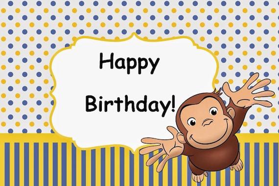 CURIOUS GEORGE cumpleaños tarjeta Fiesta Set descarga | Etsy