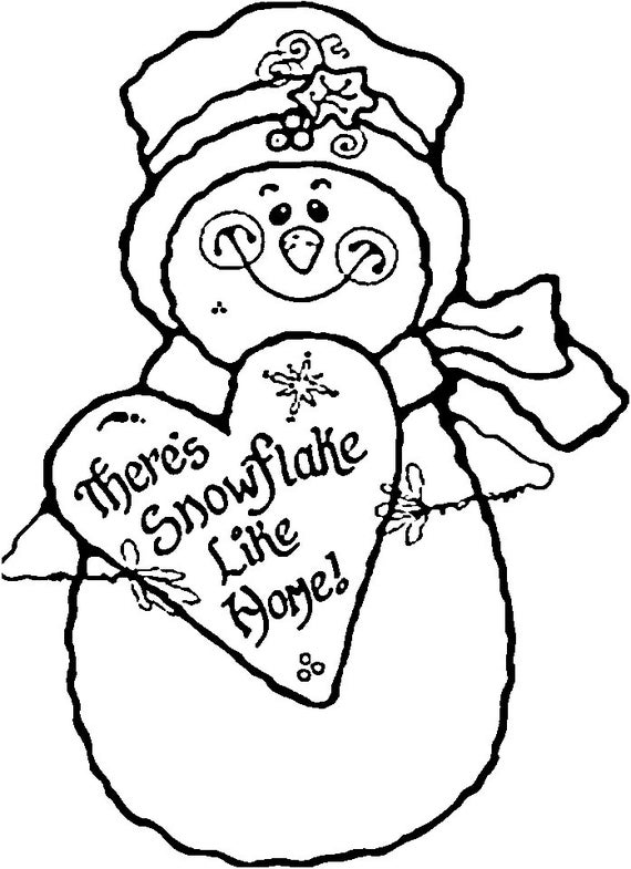 SNOWMAN - Instant Download - Coloring Pages - Digital Printable Design -  Coloring Page Printable - Snowman Printable