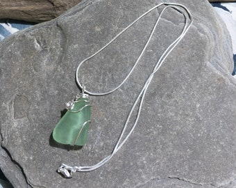 Beach Glass Necklace, Seafoam beach glass necklace,  Green seaglass necklace, sea glass pendant