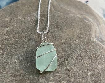 Seafoam sea glass pendant, light green beach glass jewelry
