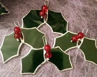 Stained Glass Holly Suncatcher, Festive Decoration, Tree Ornament