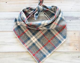 Gray Plaid Flannel Dog Bandana, Tie On Dog Bandana