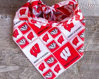 University of Wisconsin Dog Bandana, Badgers, Tie On Dog Bandana