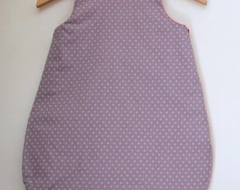 sleeping bag 0/6 month grey studded with pale pink stars lined hot pink