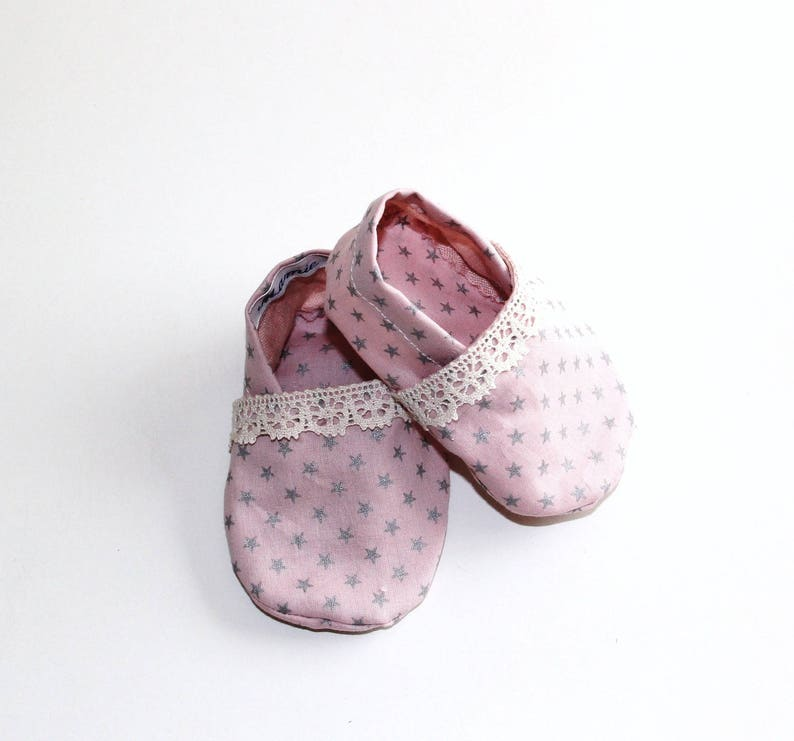 c779fe5d66b480 Booties Cotton Baby Pink Silver Stars edged in lace size 0 6