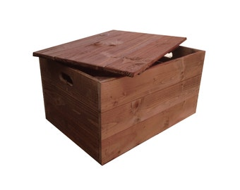 Rustic Wooden Crate Box With Lid