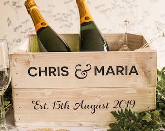 Personalised Wedding Half Crate (Date Optional) - Optional Lid - Wedding Gifts, Wedding Decor