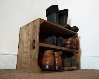 Rustic Wooden Shoe Storage Crate with Shelf