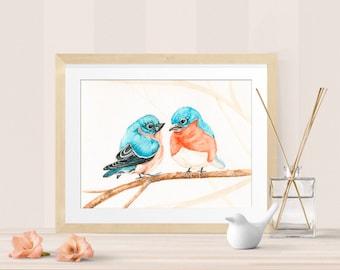 Watercolor print – bluebirds