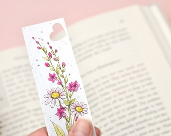 Wildflower Seed Bookmark with Pink Floral Design
