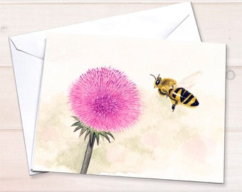 Bumble Bee Watercolor Card