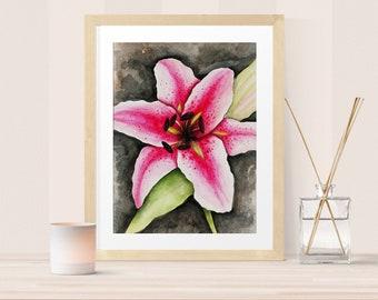 Bedroom décor – Stargazer Lily watercolor