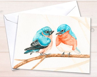 Bluebirds Watercolor Card