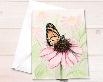 Monarch on Echinacea Watercolor Card