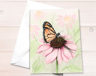 Monarch on Echinacea Notecard