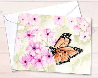 Monarch on Phlox Notecard
